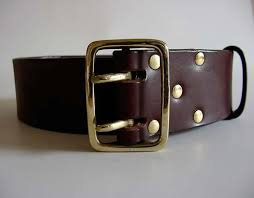 leather belt square solid brass buckle