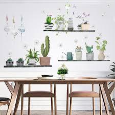 Cactus Pot Plants Window Wall Sticker Diy Art Vinyl Decal Mural Home Decor Black