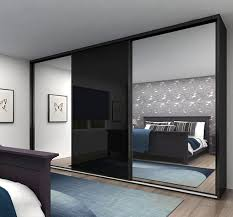 black glass and silver mirror sliding doors