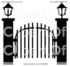 Clipart Of A Halloween Cemetery Gates Black And White Silhouette Royalty Free Vector Illustration By Dero 1609640