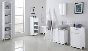 white bathroom storage unit vanity