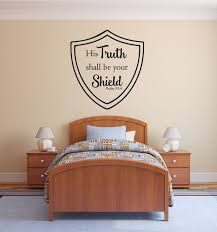 Bible Verse Wall Decal Psalm 27 1 His Truth Shall Be Your Shield Customvinyldecor Com