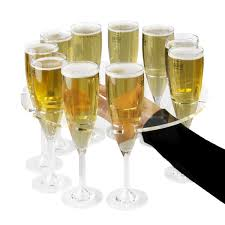 champagne flute serving tray 31cm bar