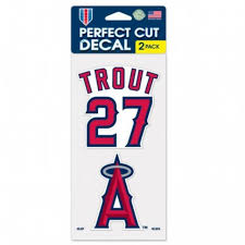 Mike Trout 27 Los Angeles Angels Of Anaheim Set Of Two 4x4 Die Cut Decals At Sticker Shoppe