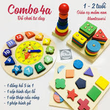 Combo 4 món đồ chơi tư duy gỗ cho bé từ 1-2 tuổi