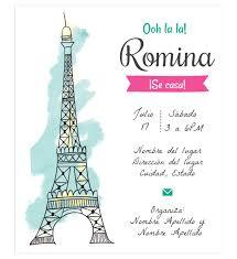 Invitacion Despedida Soltera Torre Eiffel Con Imagenes