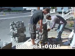 River Rock Column Installation 1 Faux Synthetic Fake Rock Stacked Rock Youtube