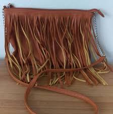 brown leather fringe purse deb dave