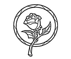 Stain Glass Rose Beauty And The Beast Window Vinyl Decal Etsy Rose Coloring Pages Stained Glass Rose Disney Decals