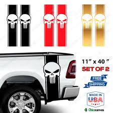 Punisher Skull Rear Truck Bed Graphic Decal Racing Vinyl Stripes Sticker Kit Chicocanvas