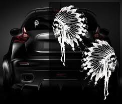Native American Skull Decal Set 2 White 5 Vinyl Car Window Sticker C9a Rottenremains Car Window Stickers Skull Decal Car Window