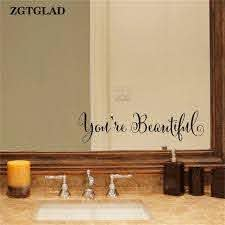 Zgtglad 1 Set Home Deocr You Re Beautiful Wall Stickers Living Room Carving Wall Decal Sticker Mirror Home Window Decoration Window Decoration Wall Sticker Living Roomwall Decals Stickers Aliexpress