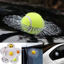 3d Tennis Ball Hit Window Car Sticker Tailgate Decal Auto Windshield Decoration Wish