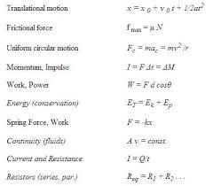 mcat physics equation list mcat study