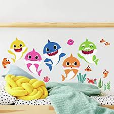 Amazon Com Roommates Rmk4303scs Baby Shark Peel And Stick Wall Decals Kids Room Decor Blue Pink Yellow Small Home Improvement