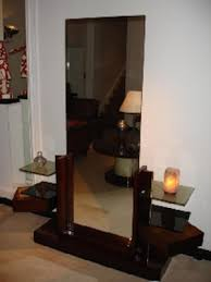 dressing table with large mirror by