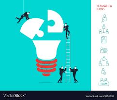 flat design concept of team work