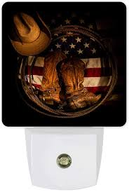 Plug In Led Night Light Rustic American Flag West Cowboy Boots Equipment Smart Dusk To Dawn Sensor Night Lamp For Bedroom Kids Room Nursery Hallway Stairs Kitchen Wall Decorative Amazon Com