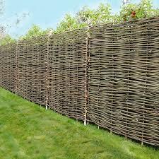 natural woven hurdle garden fence panel