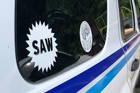 Saw White Window Decal Salem Art Works