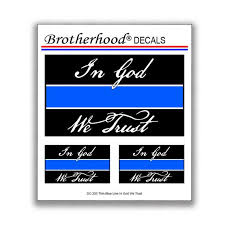 Thin Blue Line Police In God We Trust For Law Enforcement Etsy