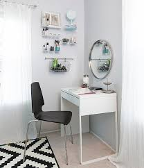 white ikea micke vanity desk in a