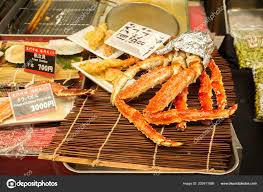 Closeup Barbecue King Crab Legs Scallop ...
