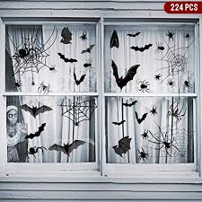 Amazon Com Hidreas 224 Pcs Halloween Window Clings Decals Black Bats Spiders And Webs Halloween Window Stickers For Windows Glass Walls Home Kitchen
