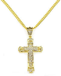 cross necklace gold metal pendant