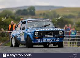 Lisburn, Northern Ireland. 21st July 2018, Eikon Exhibition Centre,  Lisburn, Northern Ireland; Motorsports, Carryduff Forklift Down Rally; Wesley  Patterson and Johnny Baird (Ford Escort MkII) finish in 10th place Credit:  Action Plus