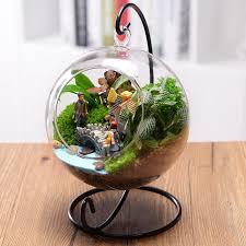 glass ball vase terrarium with holder