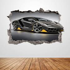 Amazon Com Lamborghini Wall Decal Smashed 3d Graphic Racing Car Wall Sticker Art Mural Poster Custom Vinyl Kids Room Decor Gift Up187 70 W X 46 H Inches Arts Crafts Sewing