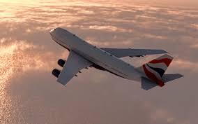 تحميل خلفيات طائرة ركاب الرحلة غروب الشمس طائرة في الهواء