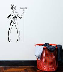 Vinyl Decal Girl Cleaning Cleaner Pin Up Woman Mop Decor Wall Sticker Wallstickers4you