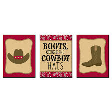 Little Cowboy Western Nursery Wall Art And Kids Room Decor 7 5 X 10 Inches Set Of 3 Prints Bigdotofhappiness Com
