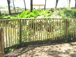 Chestnut Paling Fencing Made In Our Yard In Haslemere Protecting The Plants But Still Allowing Clear View Of The Veget Garden Design Clear View Vegetation