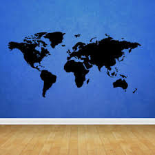 Wall Decal World Map Country Words Quotes Paint Ball Mural Bedroom M1077 Ebay