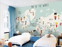 3d Nursery Kids Room Cartoon People World Map Removable Etsy Kids Room Kids Wall Decals Kids World Map