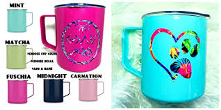 Amazon Com Personalized Coffee Mug With Lid And Handle Stainless Steel You Choose Color Name Decal 14 Oz Powder Coated Free Shipping Handmade