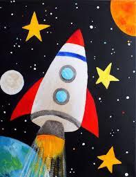 Space Ship Rocket Painted Rock Idea Kids Canvas Art Space Art Childrens Wall Art Print