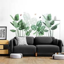 Tropical Plants Leaves Wall Stickers Home Children S Room Green Plants Stickers Removable Home Decor Decal Cartoon Stickers Wall Stickers Aliexpress
