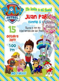 15 Invitaciones Paw Patrol Patrulla Canina Cumple Tarjetas