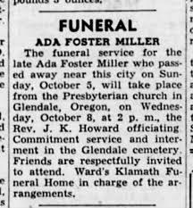 Obituary Ada Foster Miller - Newspapers.com