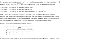 quadratic equation y ax2 bx