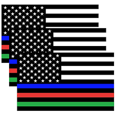 Creatrill Reflective Thin Blue Red Green Line Decal Matte Black 3 Packs 3x5 In American Usa Flag Decal Stickers For Cars Trucks Hard Hat Support For Police Fire Officers Military Troops