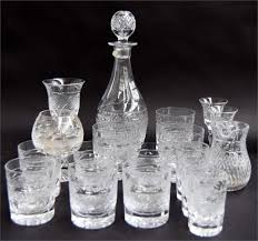 cut glass decanter and stopper together