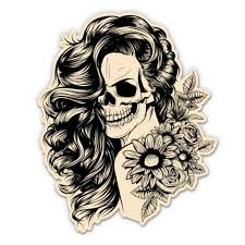 Day Of The Dead Scary Girl Female Skull 5 Vinyl Sticker For Car Laptop I Pad Waterproof Decal Walmart Com Walmart Com