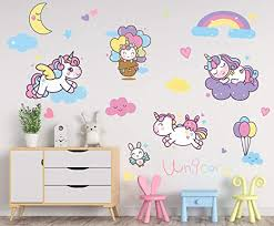 Amazon Com Large Removable Unicorn Decals For Girls Bedroom Playroom Nursery Decor Wall Stickers Decoration For Kids And Toddlers Room Gift Idea For Baby Shower Kitchen Dining