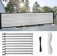 Amazon Com 40 X 100 Shade Cloth Taped Edge With Grommets Superthinker Deck Balcony Privacy Screen Cover Fence For Uv Protection Apartment Outdoor Windscreen Covering Mesh Cloth Large Size White Grey Strips