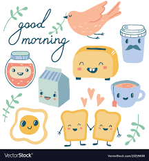 good morning funny characters breakfast